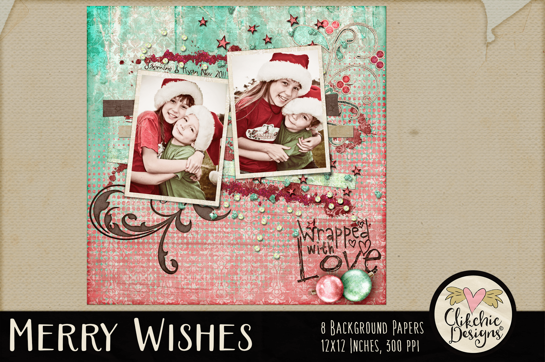 Christmas Backgrounds - Merry Wishes Digital Papers Textures example image 6