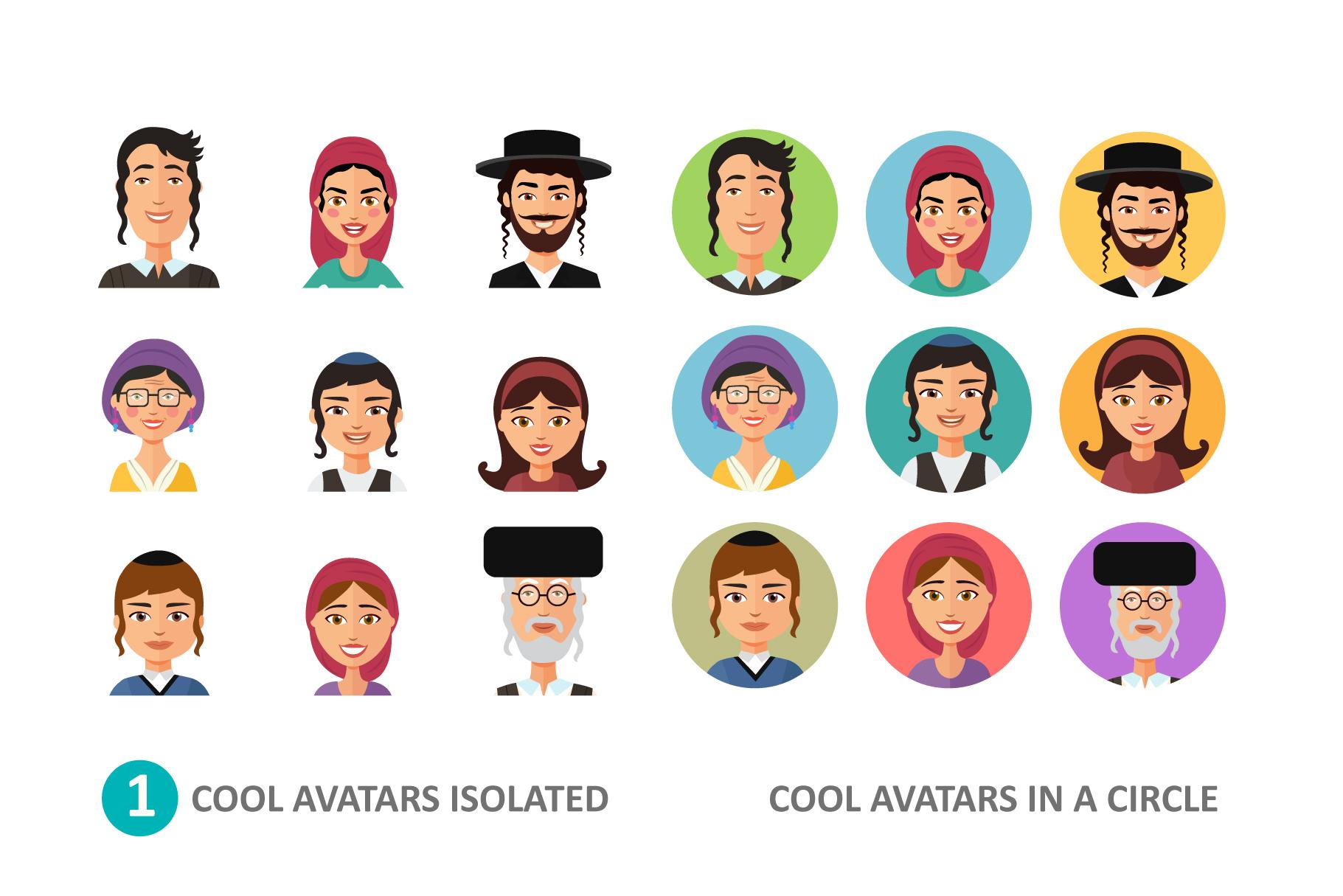 Jewish avatars family cartoon flat example image 2