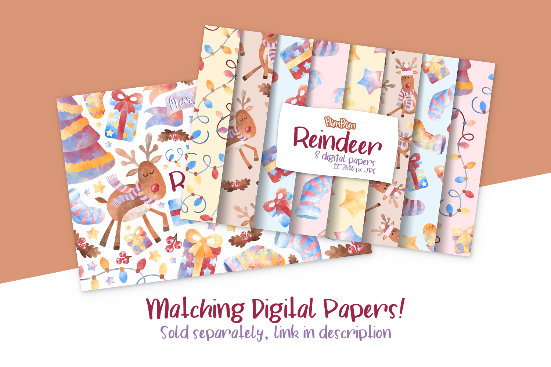 Reindeer Watercolor Cliparts example image 2