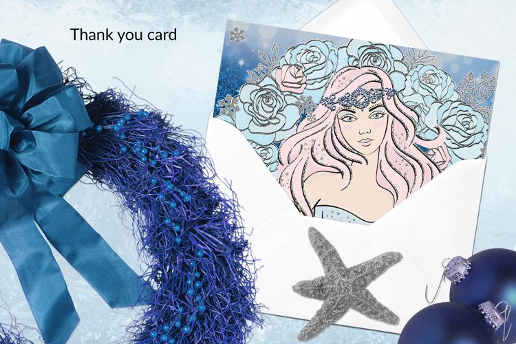 ICE MERMAID Glitter Christmas Illustration Set example image 9