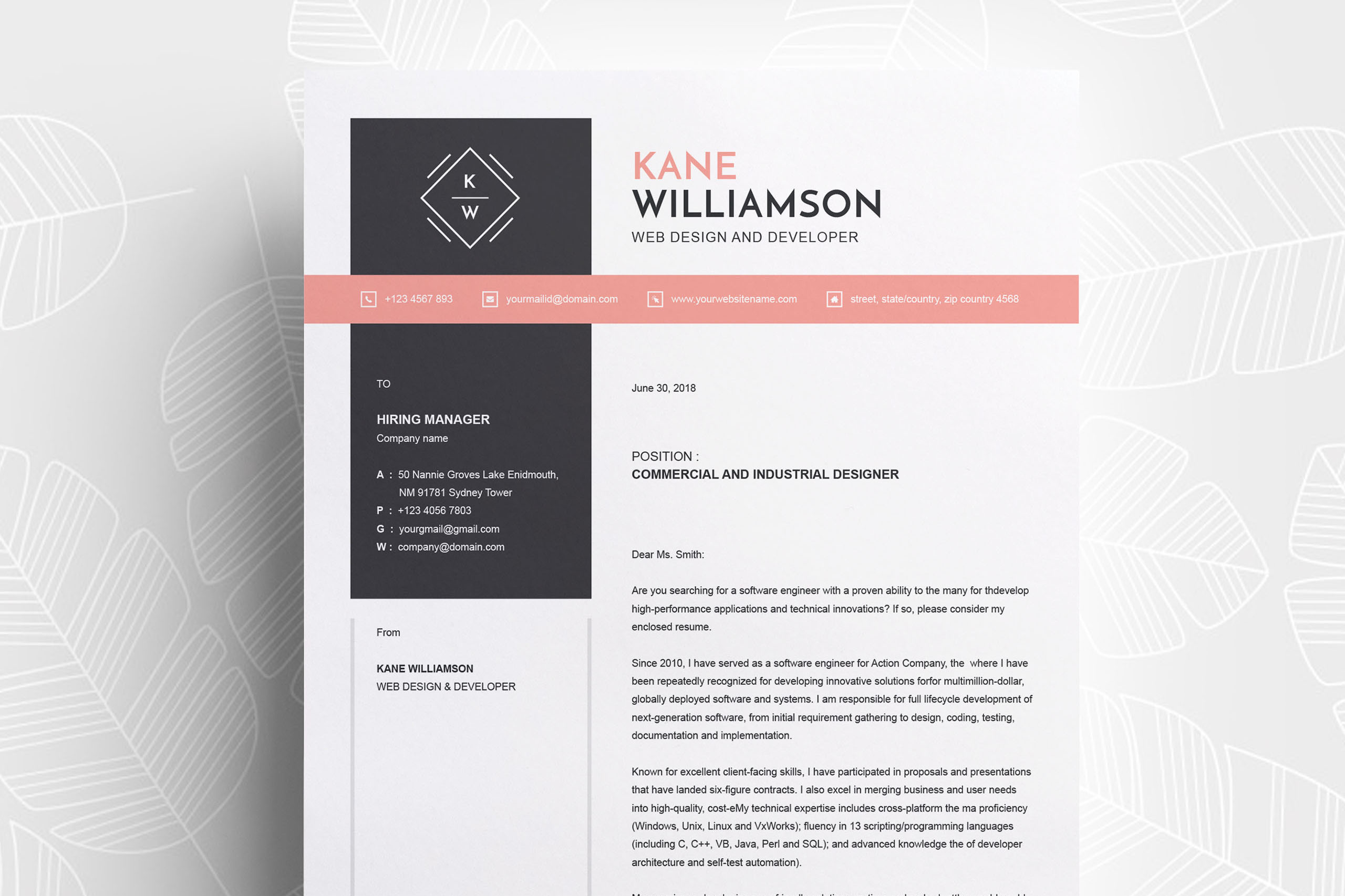 Professional Resume Template | MS Word CV Design Template example image 3