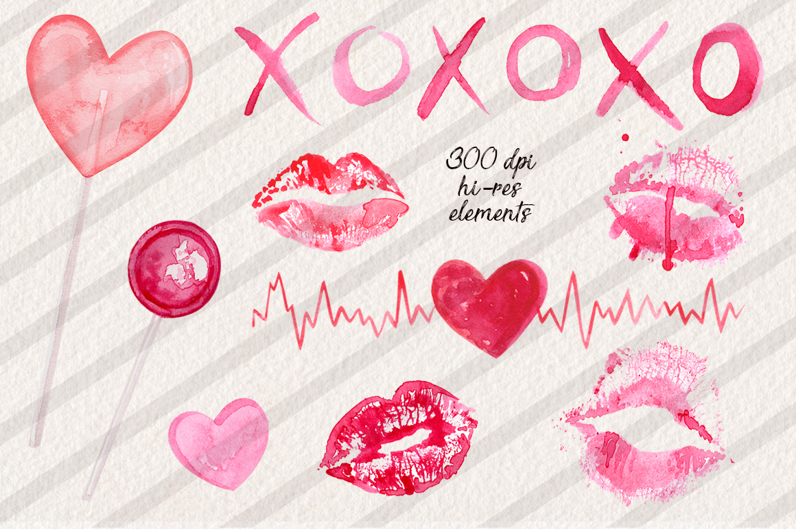Watercolor Lips Collection example image 3