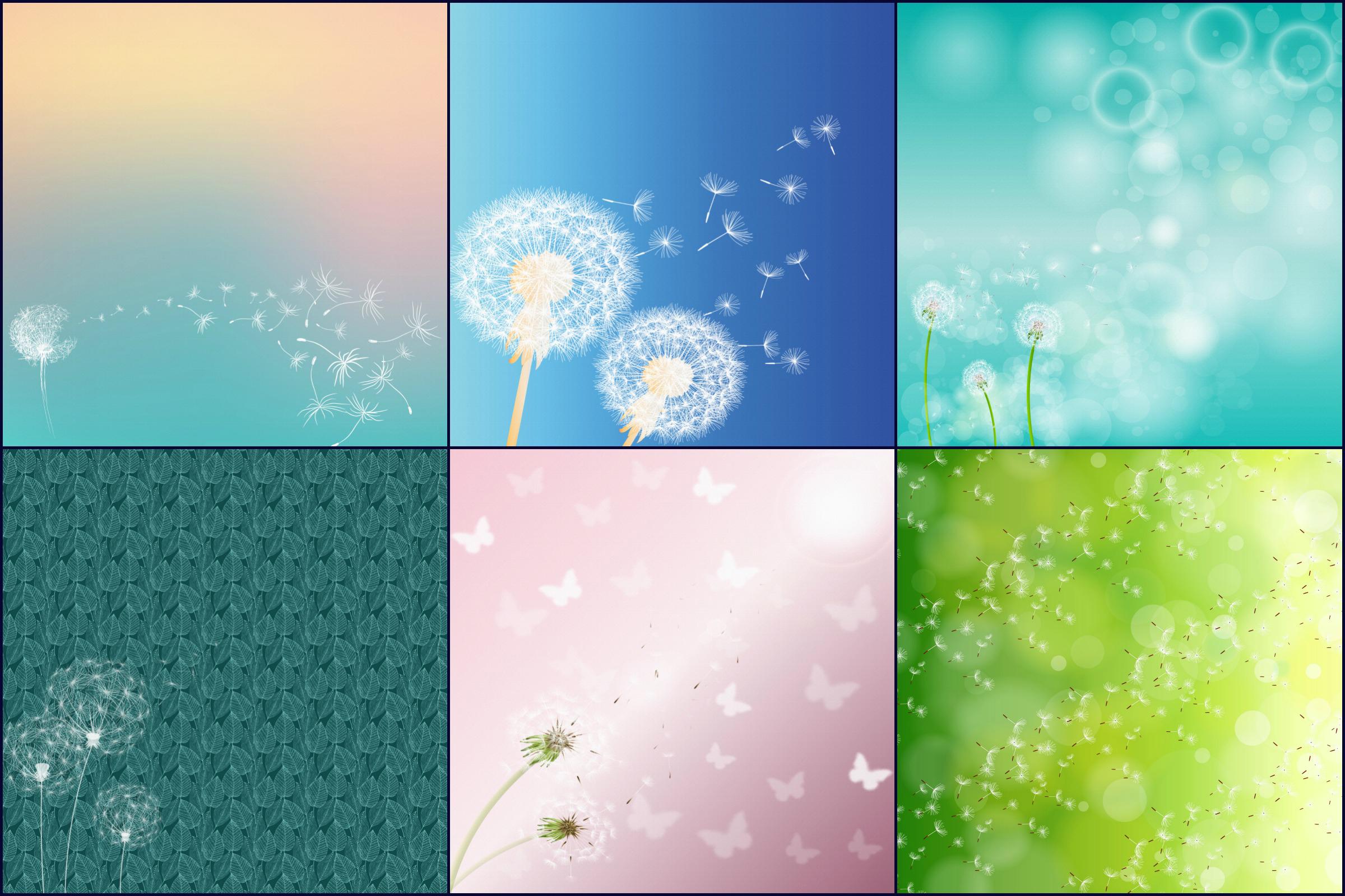 Dandelion Variety Digital Papers example image 3