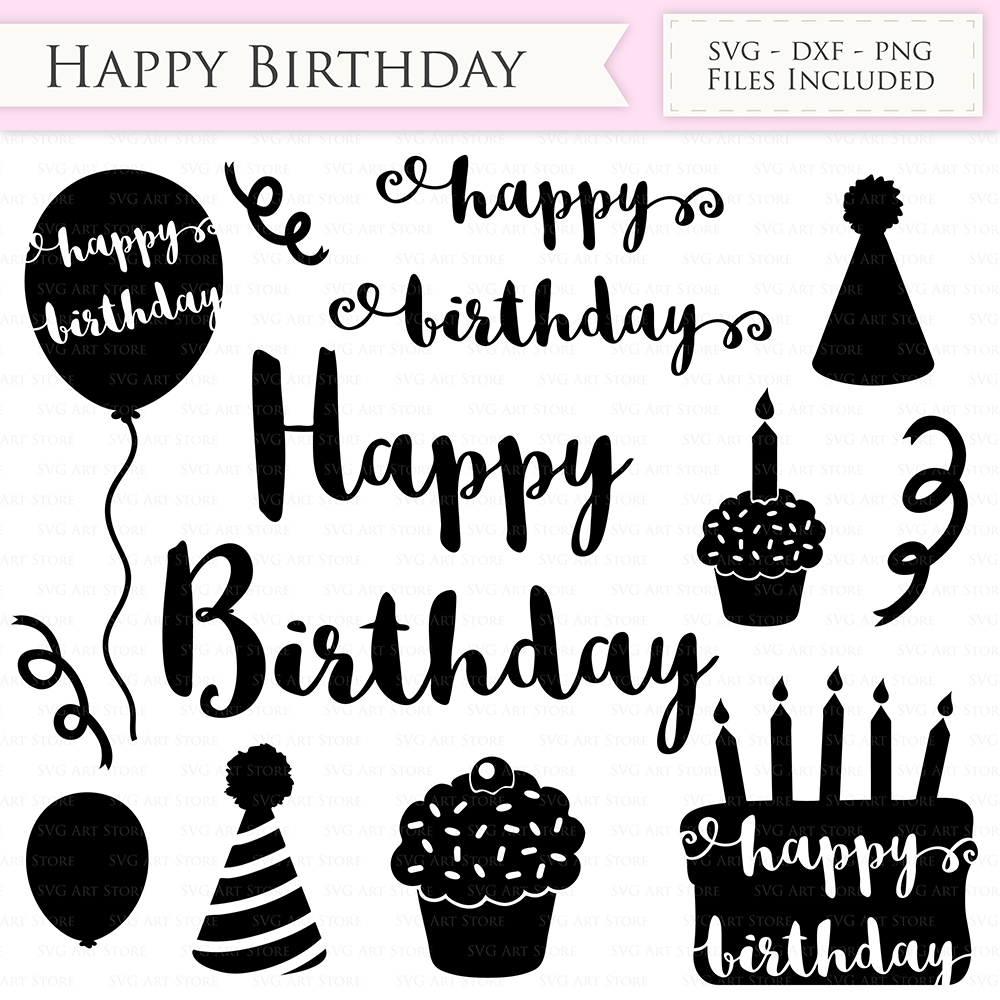 Happy Birthday SVG Files Birthday hat, party balloon, birthday cake svg cutting files Cricut and Silhouette SVG dxf png jpg included example image 2