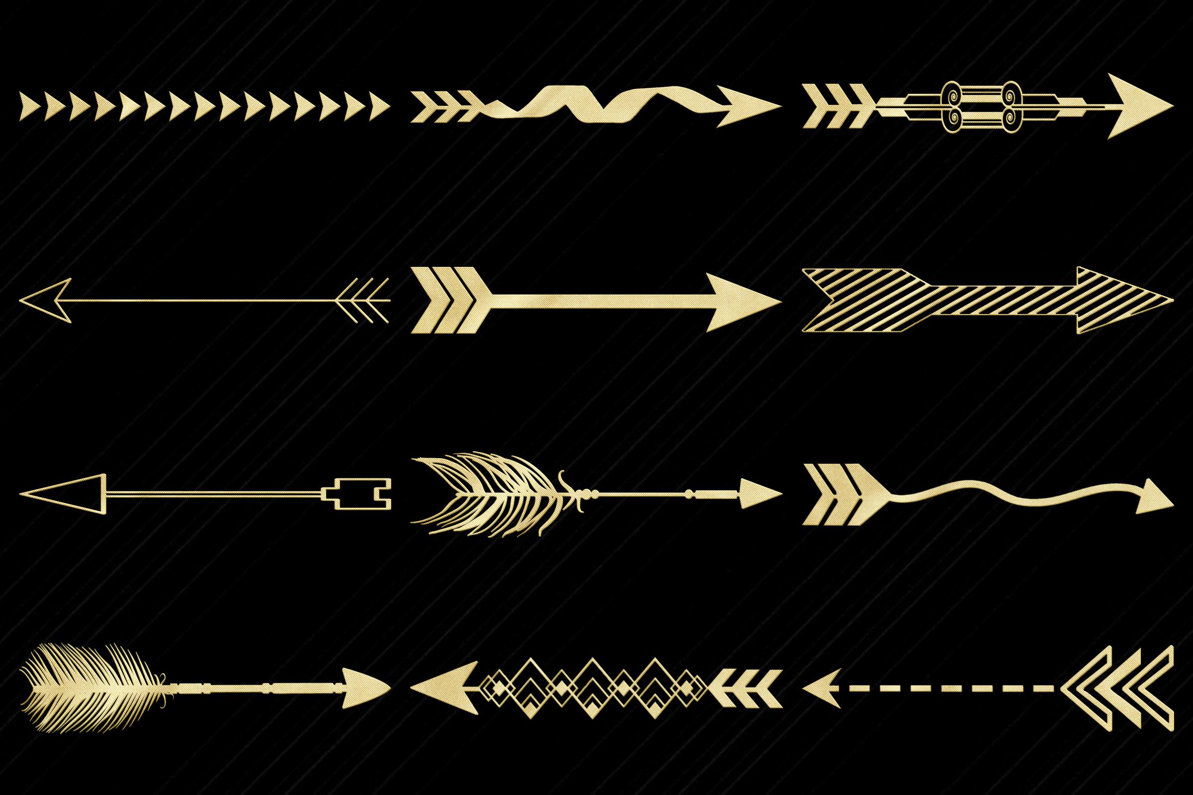 Gold Foil Decorative Arrows Clip Art example image 2