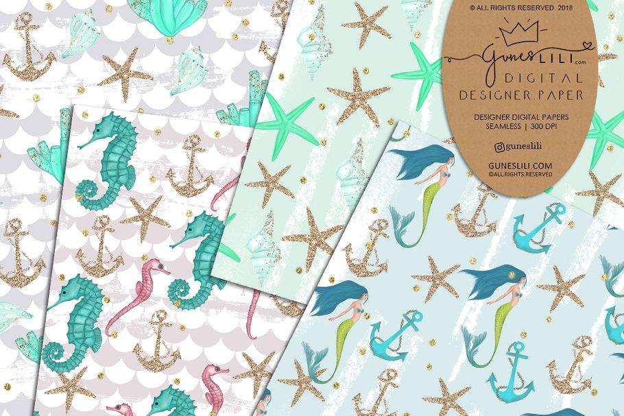 Blue Mermaid Digital Paper Pattern Summer Fashion Seamless example image 3