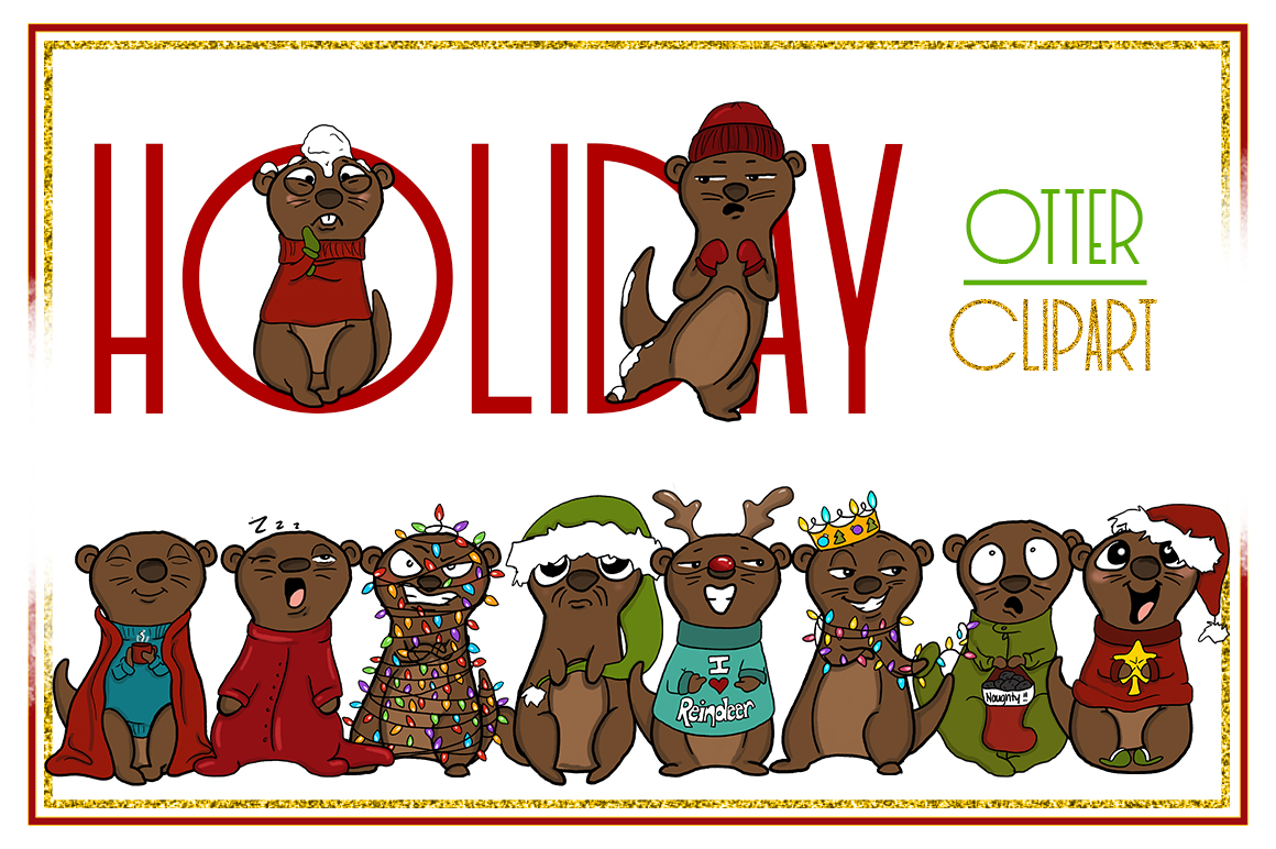 Holiday Clipart-Otter Clipart-Otter Christmas Clipart-Cartoon-Sticker Clipart-Otter art-Digital-Otter XMAS Drama-Commercial-Otter Love example image 1