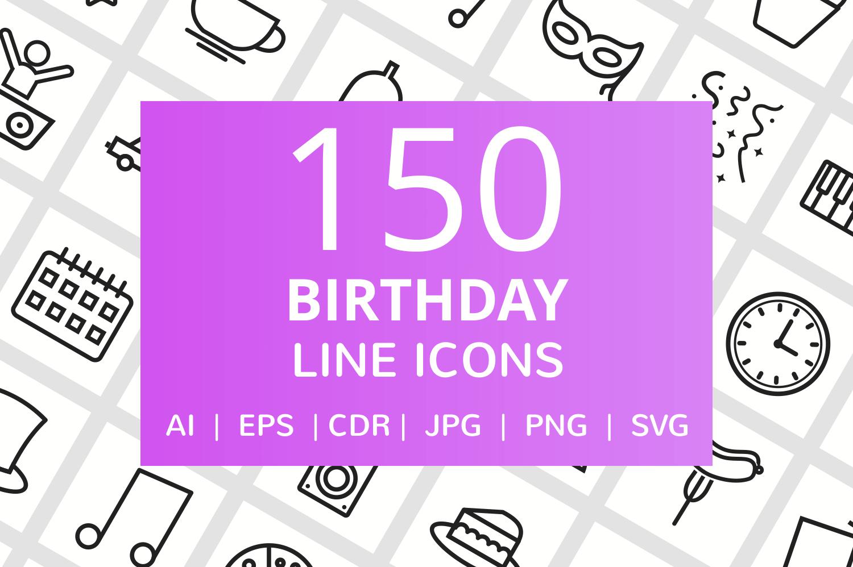 150 Birthday Line Icons example image 1