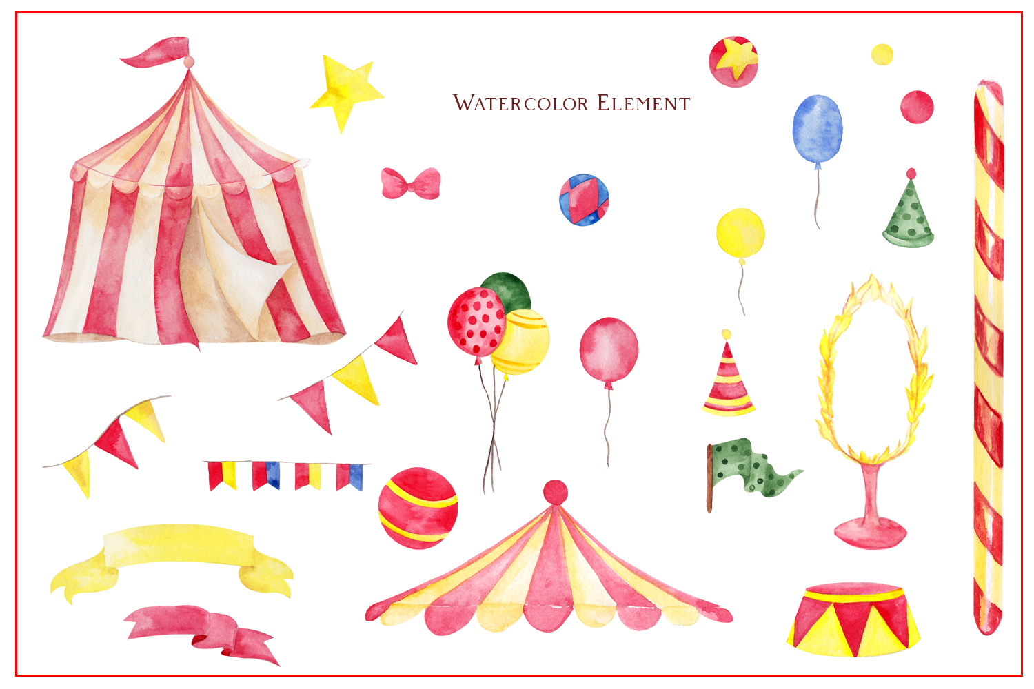 Circus. Watercolor clipart example image 3