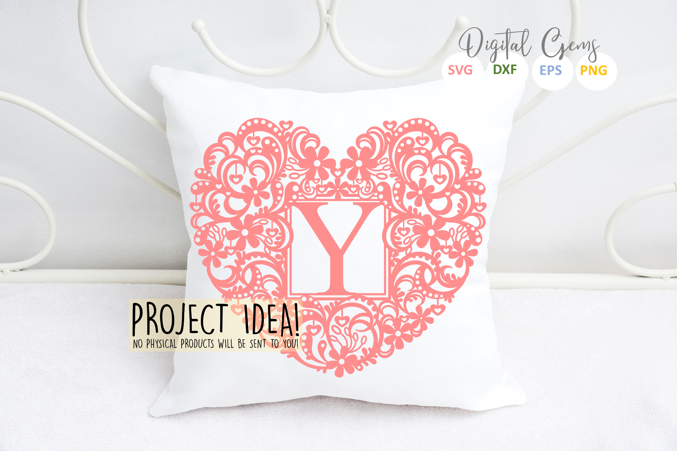 Letter Y paper cut design. SVG / DXF / EPS / PNG files example image 3