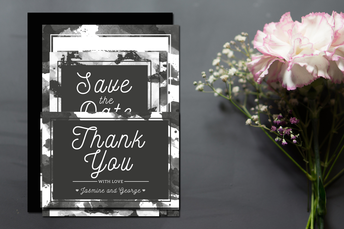 Monochrome Wedding Invitation Suite example image 2