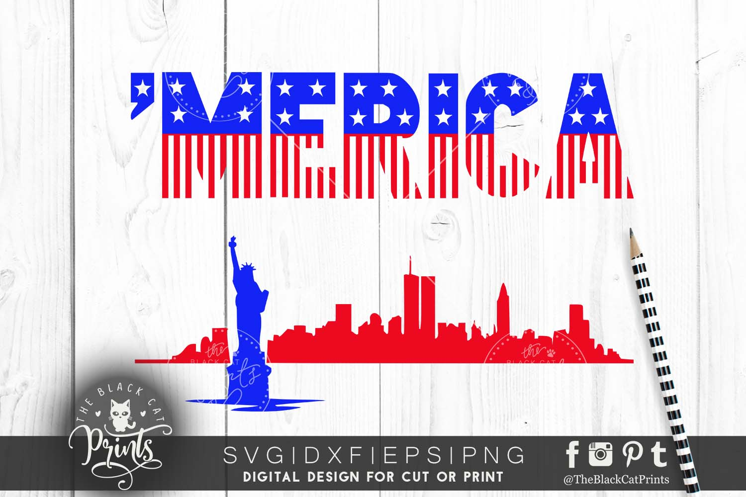 'Merica SVG PNG EPS DXF example image 1
