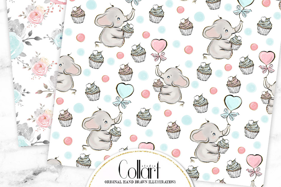 Elephant digital paper, baby boy papers, baby girl papers example image 7
