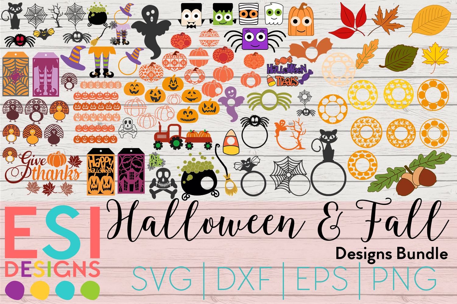 Halloween and Fall Designs Bundle -SVG DXF EPS & PNG example image 1