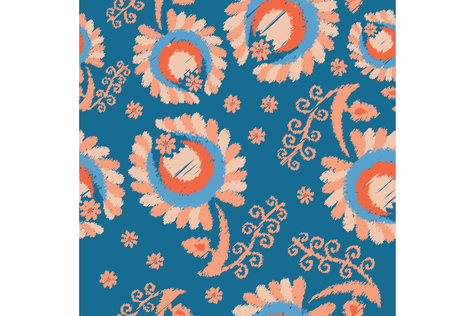 Ethnic boho seamless pattern with decorative flowers. Print. Cloth design, wallpaper. example image 1
