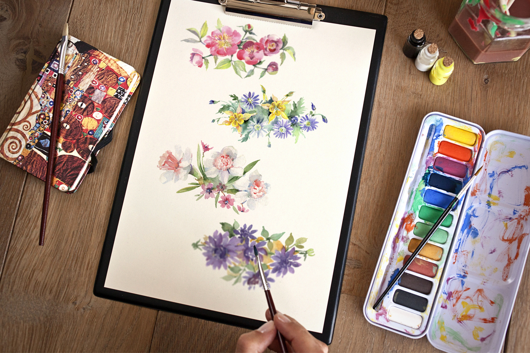 Bright bouquet of watercolor flowers png example image 4