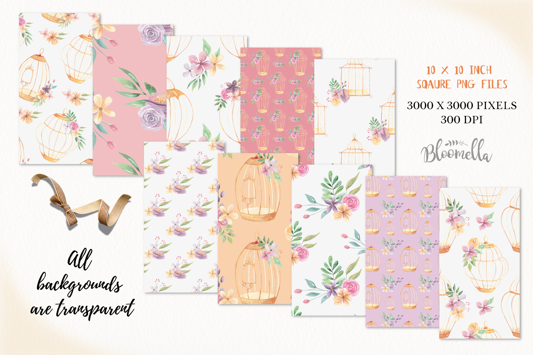 Birdcage Flower Patterns Digital Papers Peach Wedding Floral example image 3