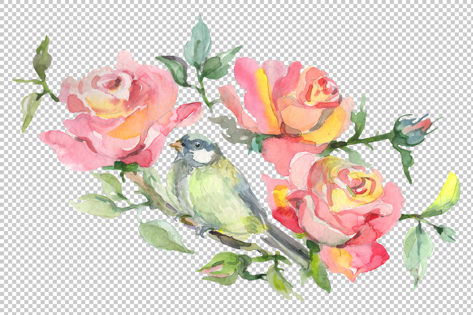 Bouquet with roses romance watercolor png example image 4