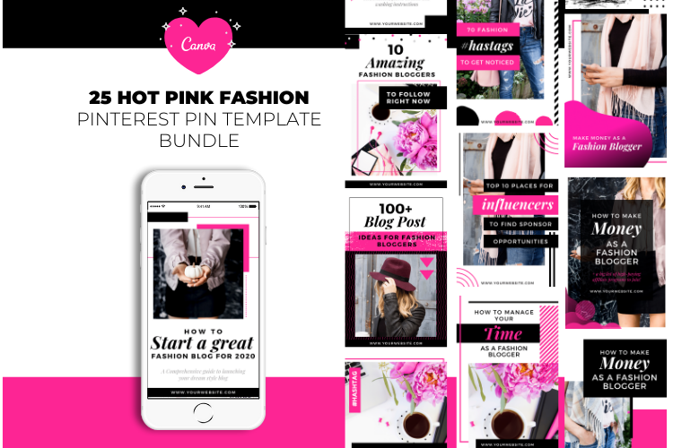 Fashion Blogger Pinterest Templates for Canva example image 1