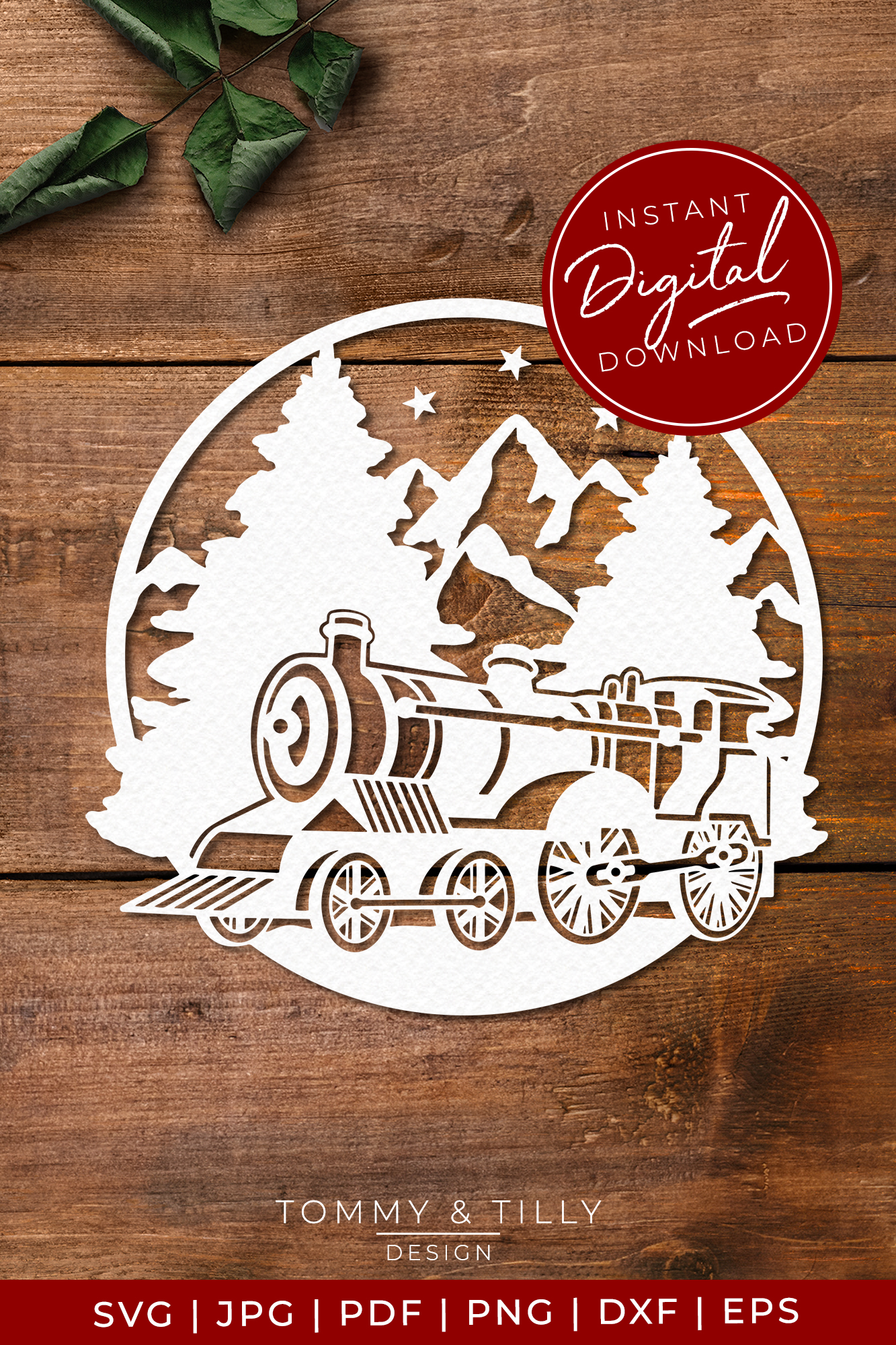Train Mountain Scene - SVG EPS DXF PNG PDF JPG example image 3
