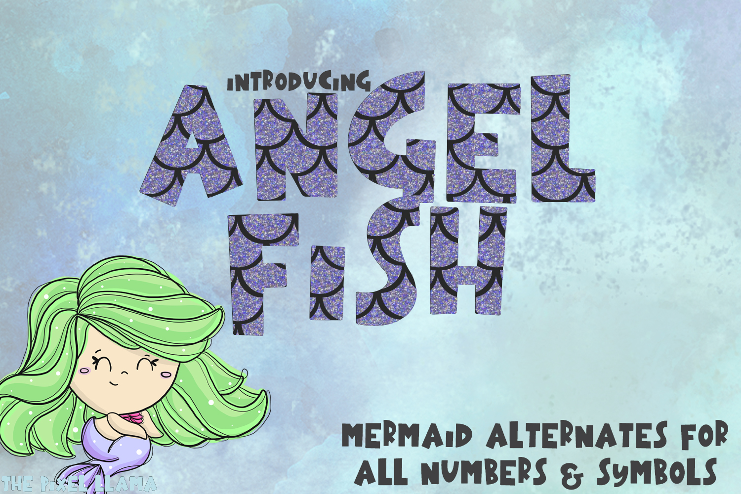 Mermaid Angelfish With Scales Font example image 1