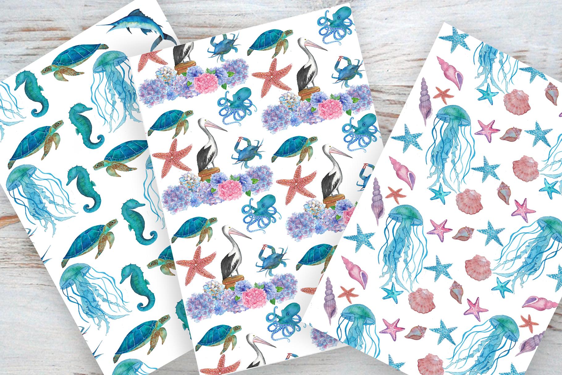 Watercolor Aquatic and Coastal Set example image 2