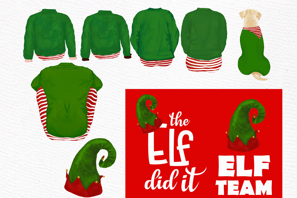 Christmas family clipart, Elf hat, Santa little helpers example image 5