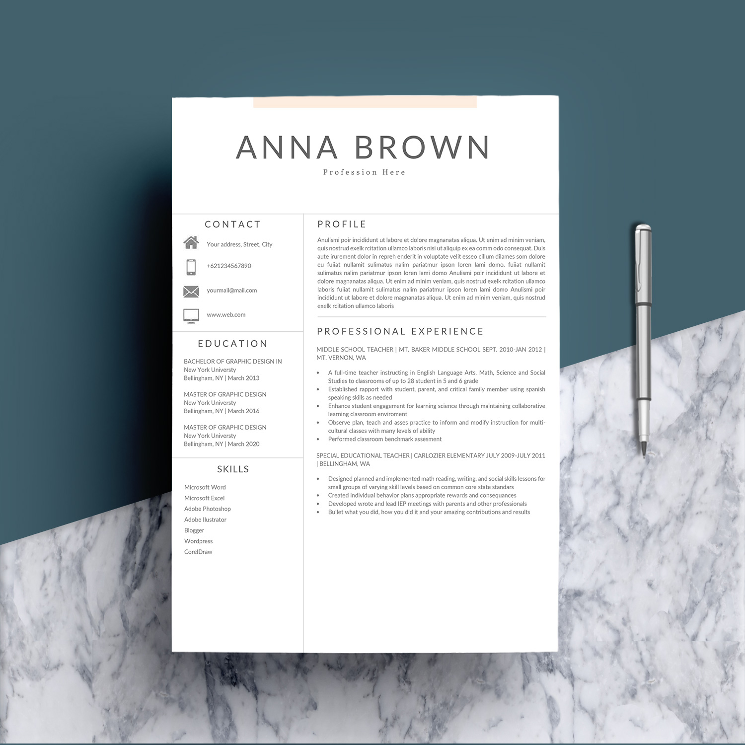 Resume Template CV Word example image 2