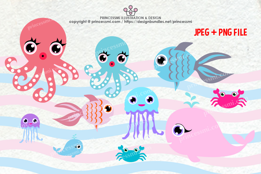 Collection of ocean Octopus, Goldfish Whale crab, Jellyfish example image 2