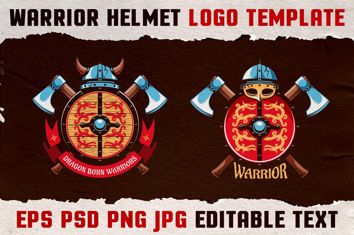 Warrior Viking Helmet Logo Template example image 2