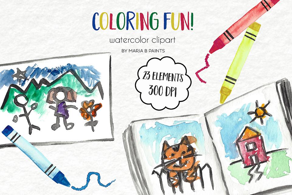 Watercolor Clip Art - Coloring, Crayons example image 1