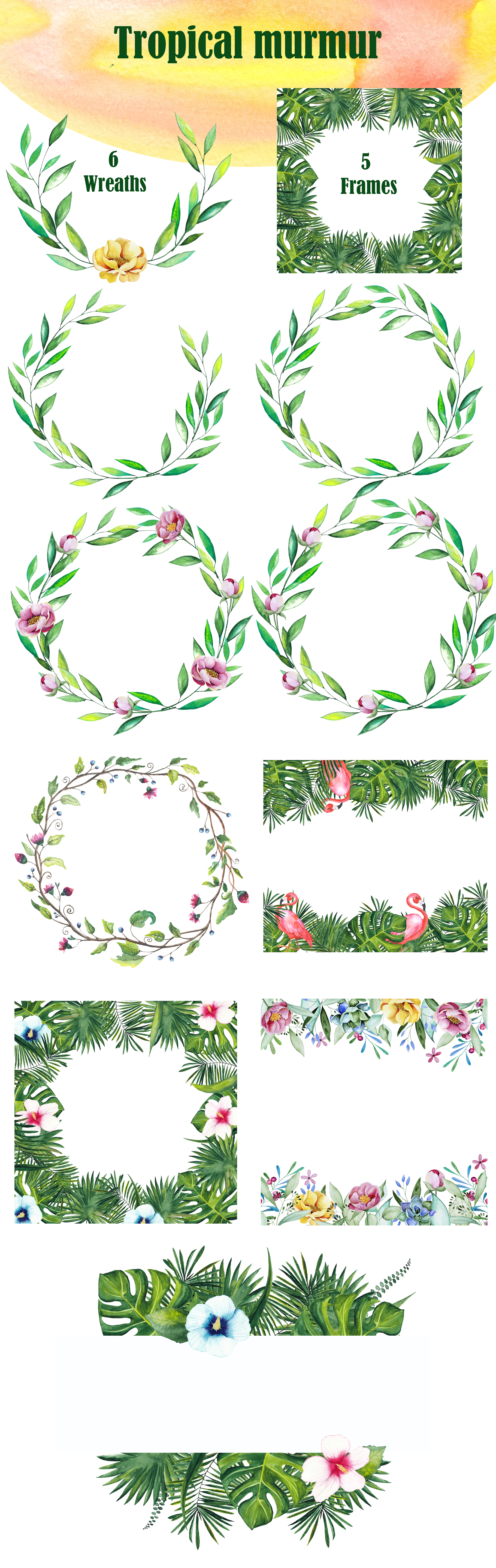 Tropical watercolor collection example image 9