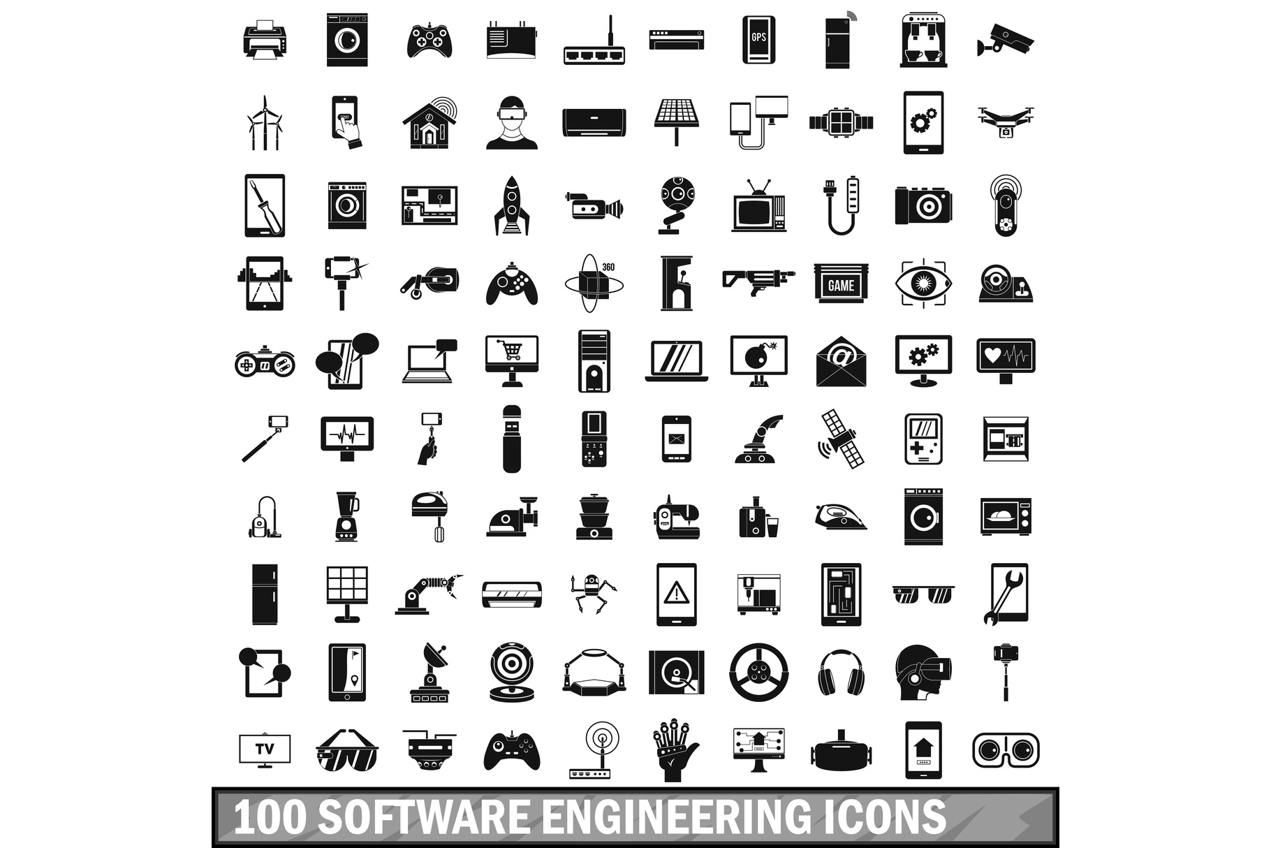 100 software engineering icons set, simple style example image 1