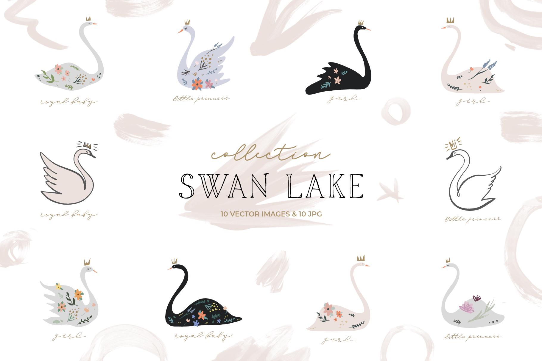 Swan lake wedding clip art set, vector graphics example image 1