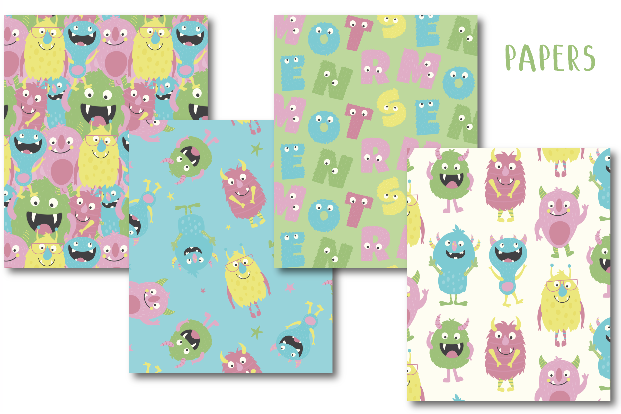 Monsters clipart and paper pack example image 4