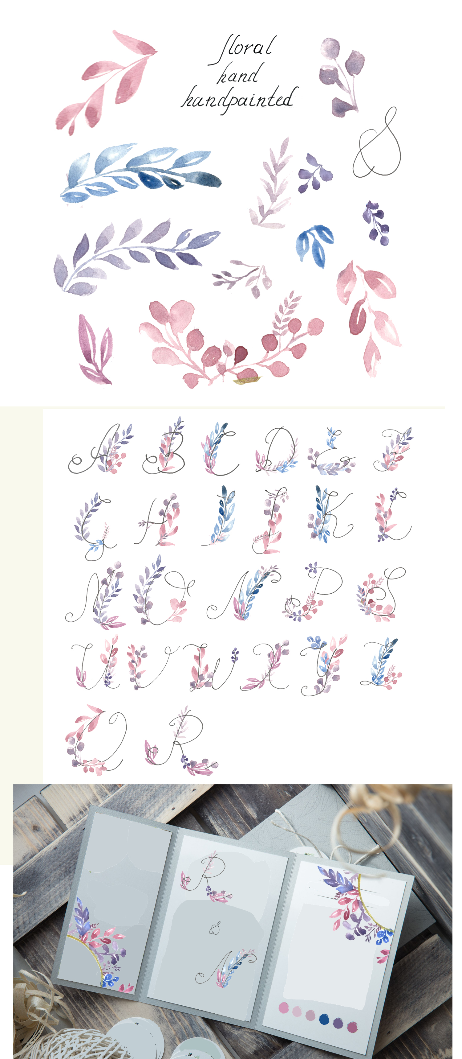 Watercolor alphabet, PNG clipart example image 3