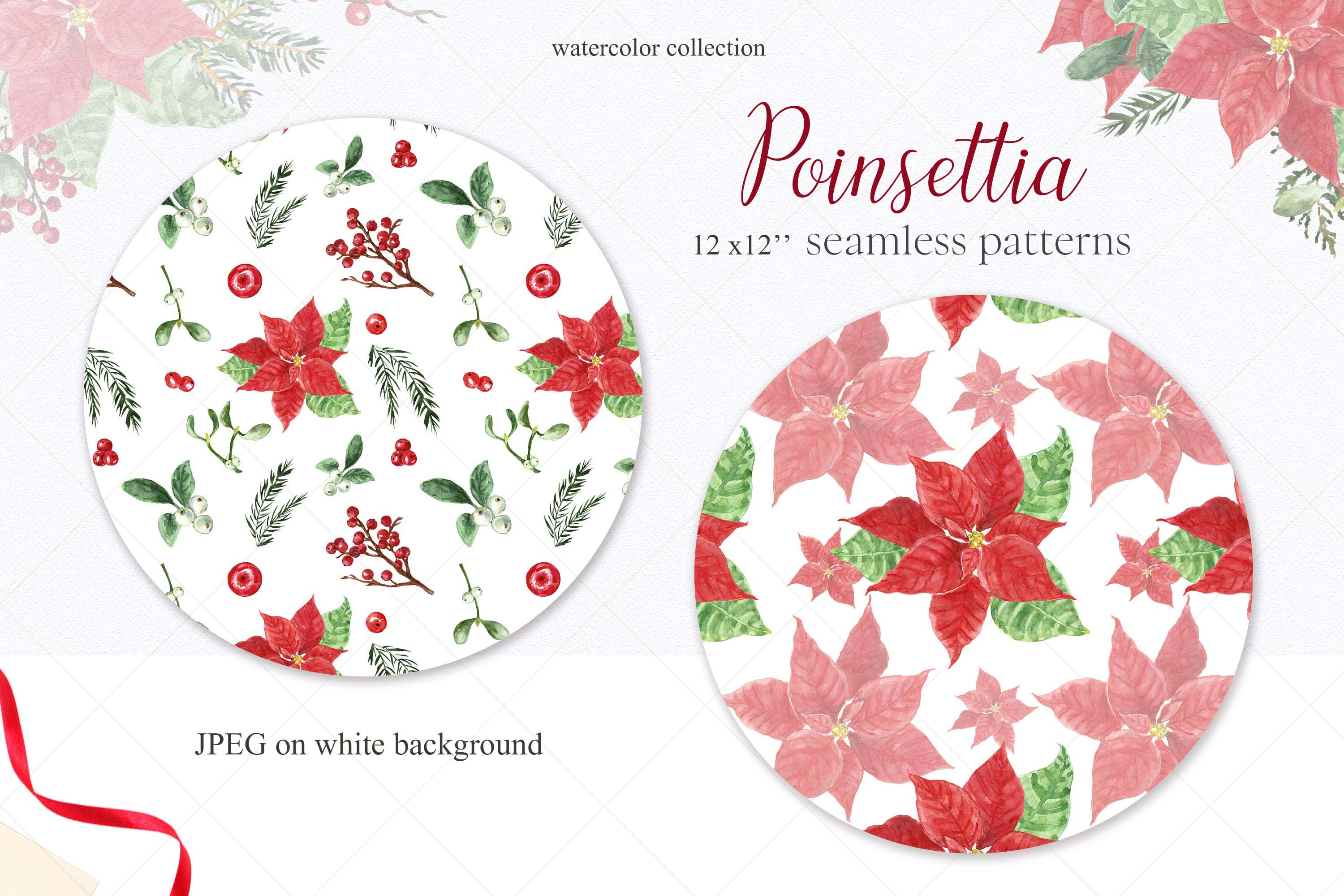 Watercolor Christmas Poinsettia Holiday Wreath Clipart example image 8