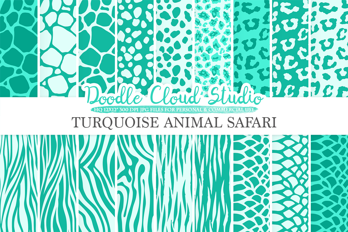 Aqua Animal Safari digital paper, Turquoise Fur pattern, Giraffe Zebra Snake Tiger backgrounds, Instant Download, Personal & Commercial Use example image 2