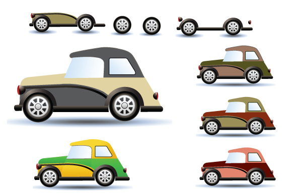 Retro cars and trains vector clipart example image 4
