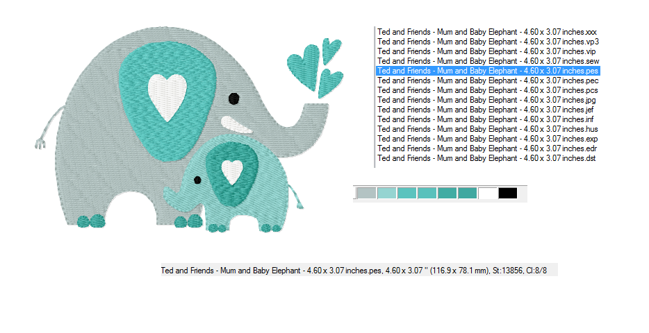 ELEPHANTS Machine Embroidery Design in 2 sizes example image 3