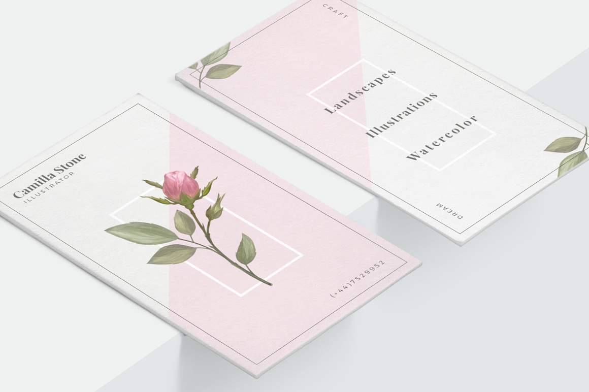 Pink Rose Business Card Template example image 4