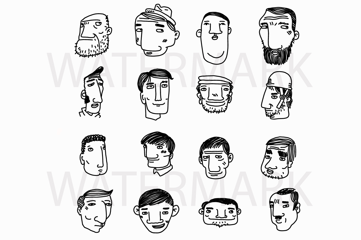Face Set C - SVG/JPG/PNG Hand Drawing example image 1