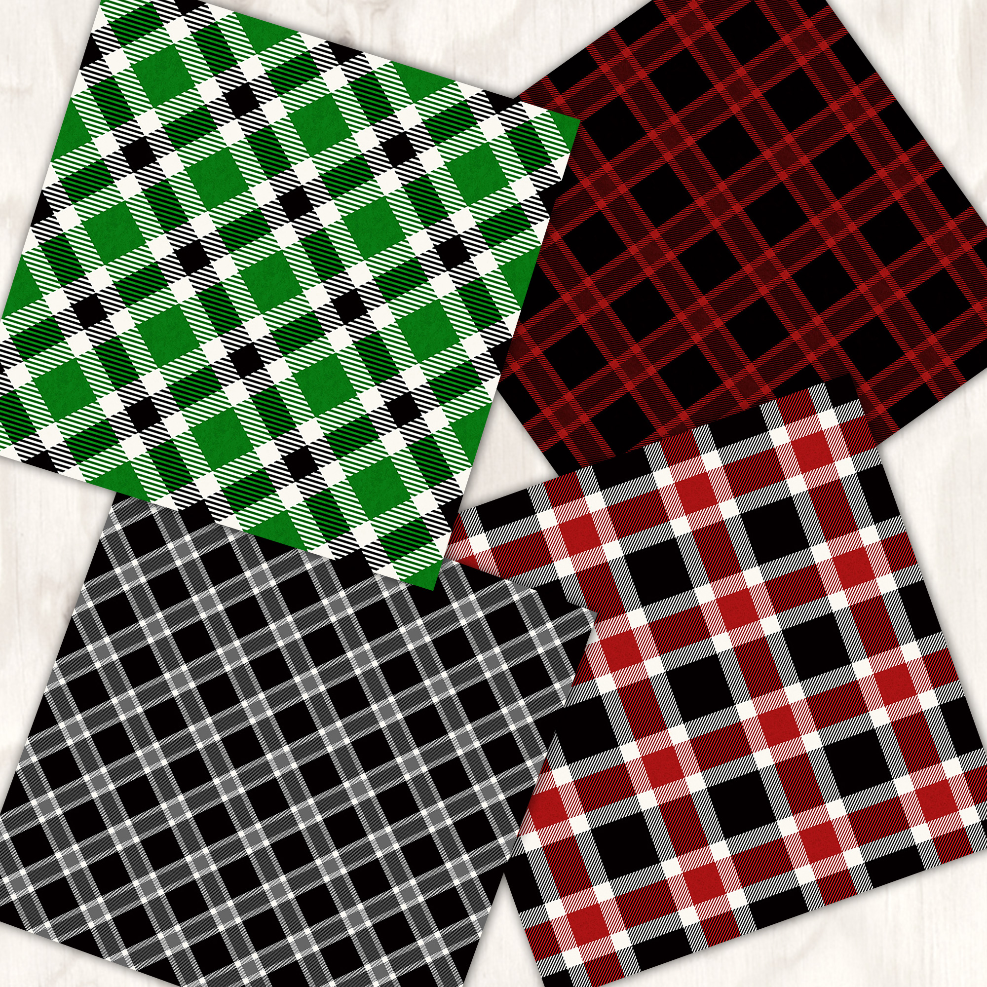 Cozy Christmas Plaid 12 Tileable Digital Papers example image 2