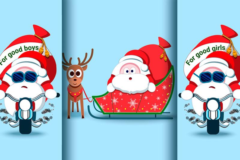 Santa Claus Christmas character set of 17 illustrations example image 2