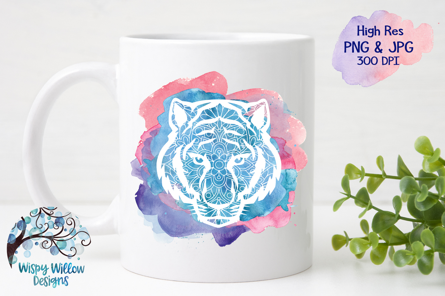 Tiger Mandala Watercolor PNG | Sublimation | Clipart example image 2