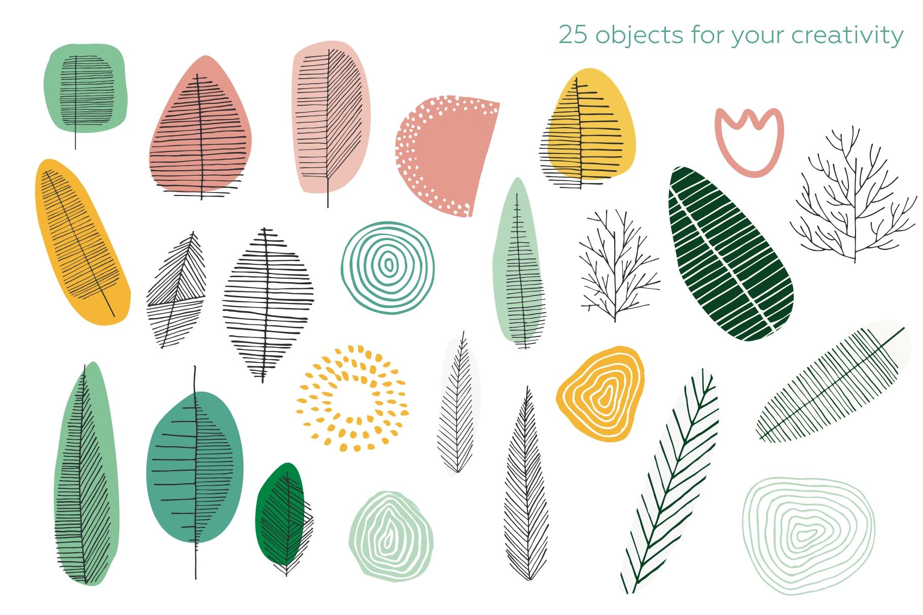 Seasonarium. Abstract botanical pattern and graphic set. example image 10