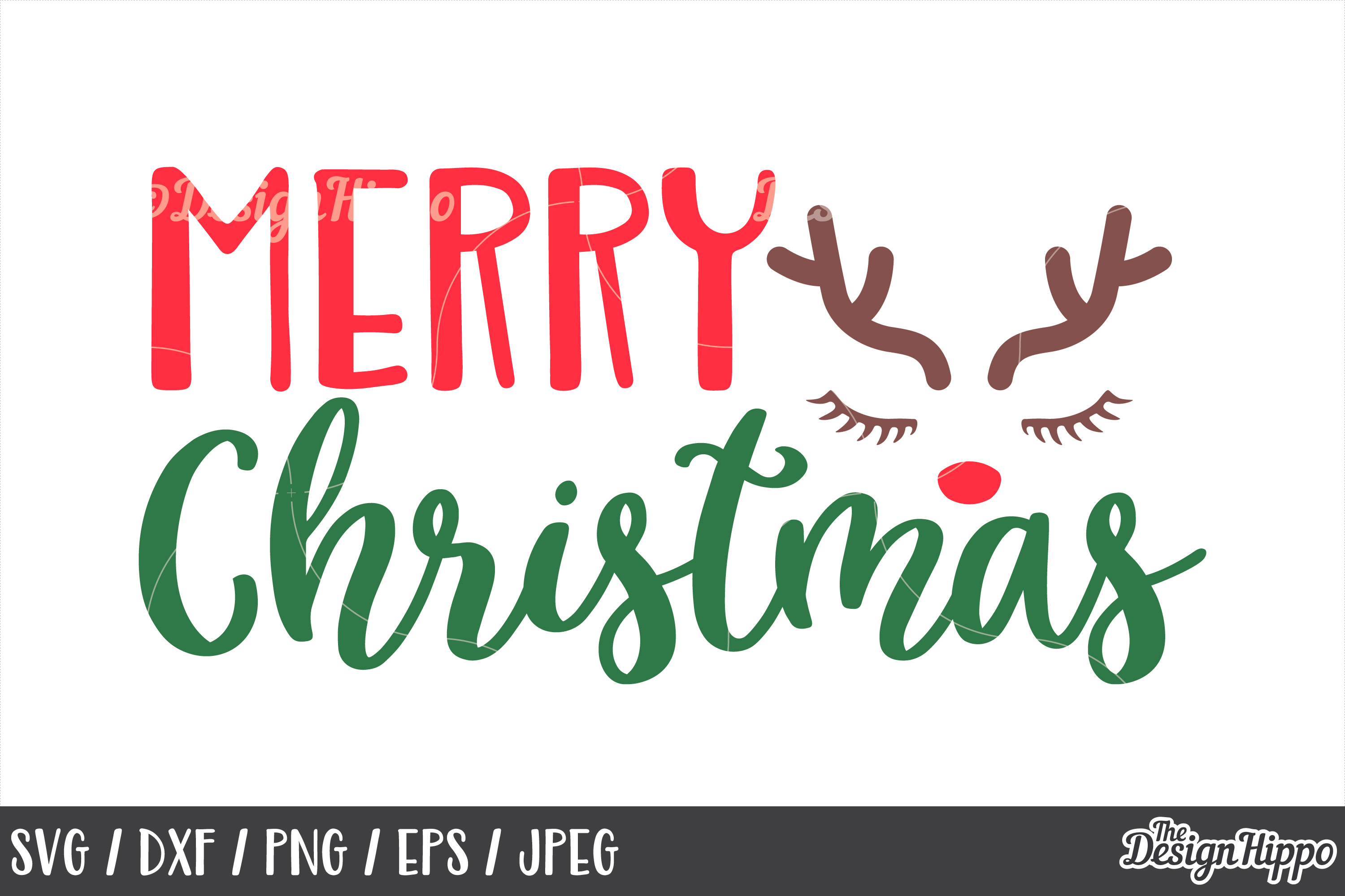 Christmas Reindeer, Merry Christmas SVG, DXF, PNG, Cut Files example image 1