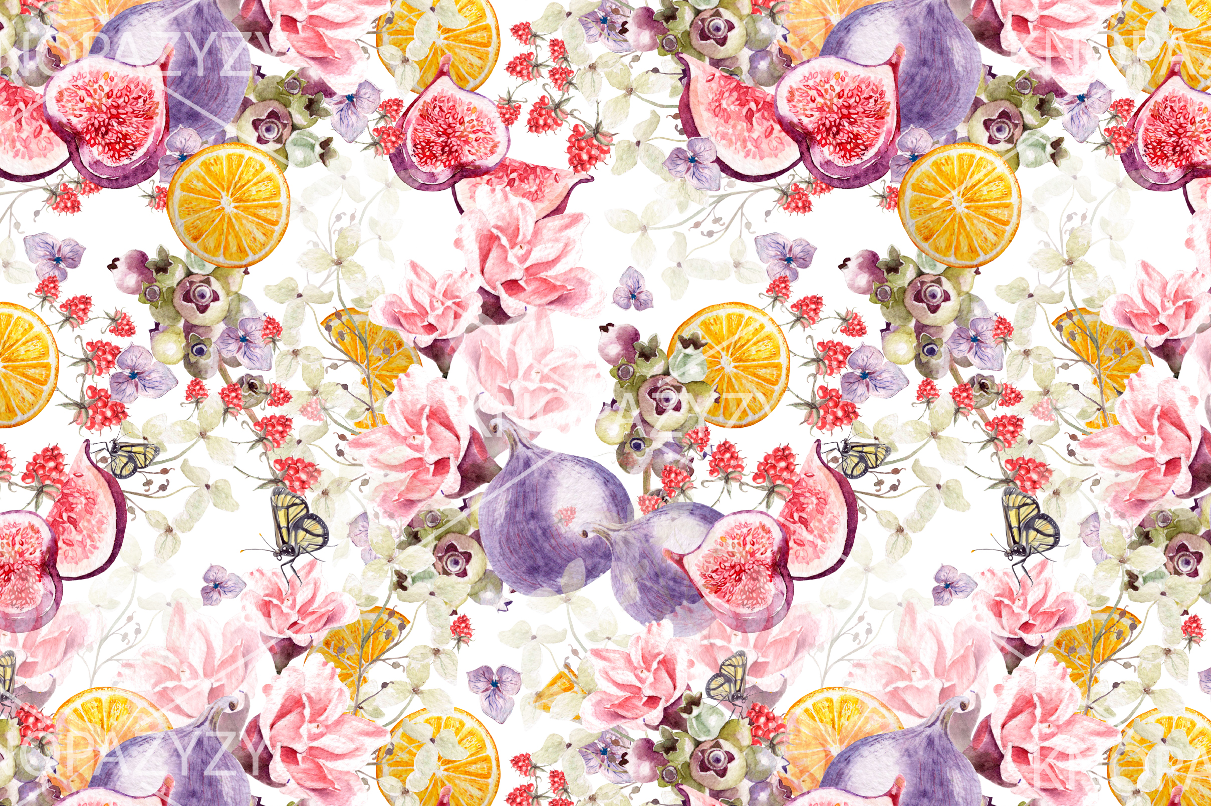 6 Hand Drawn Watercolor PATTERNS example image 6