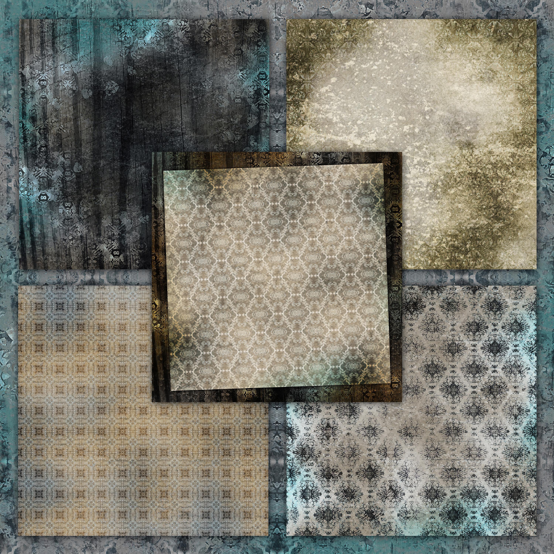 Beige-Blue Old Shabby Digital Backgrounds example image 5
