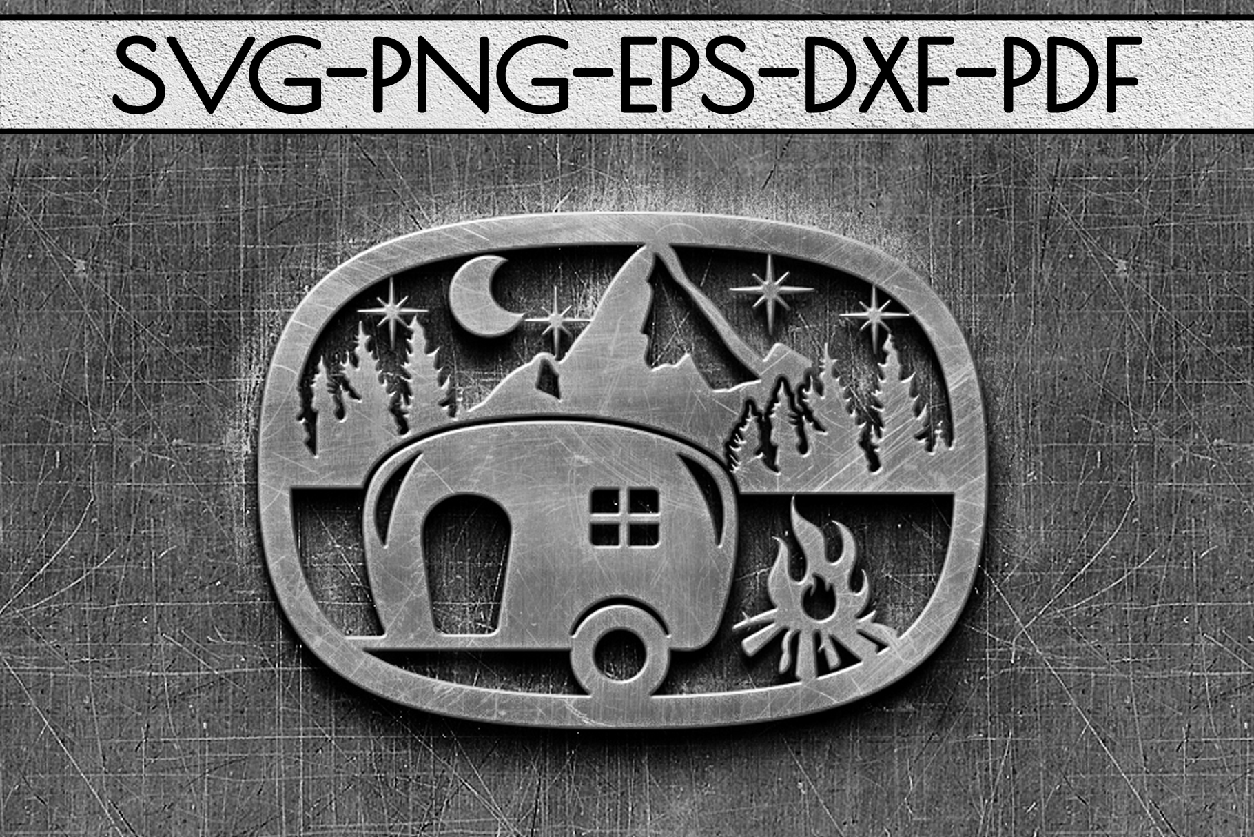 Camping Sign Papercut Templates Bundle, Adventure SVG, DXF example image 9